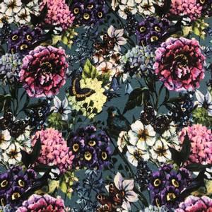 Bilde av Viskosejersey fugler, sommerfugler og blomster