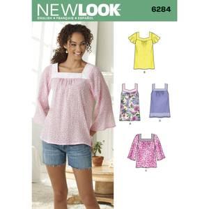 Bilde av New Look 6284 Bluse med varianter i hals og armer