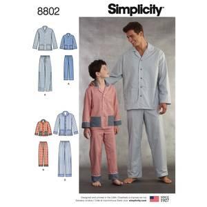 Bilde av Simplicity 8802 Pysjamas til gutt og mann