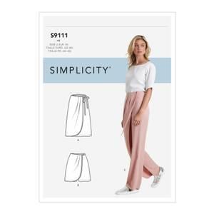 Bilde av Simplicity S9111 Skjørt, shorts og bukse med omslagseffekt