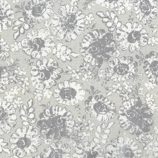 Bomull metallic hvit med sølv